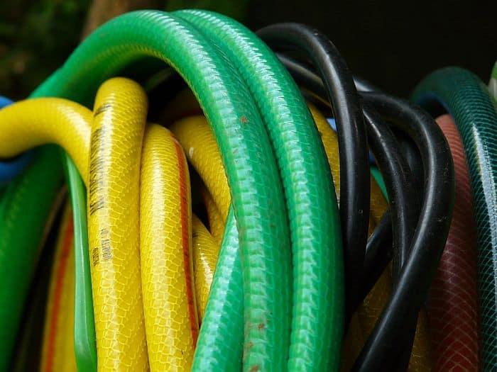 rolls of garden hoses