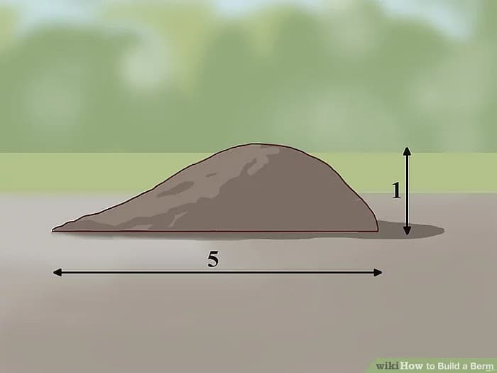 An illustration showing dimensions of a berm