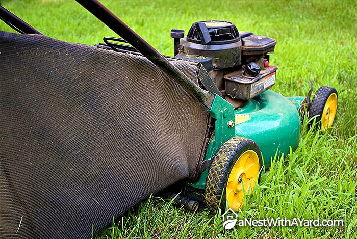 Lawn mower with a bagger attached
