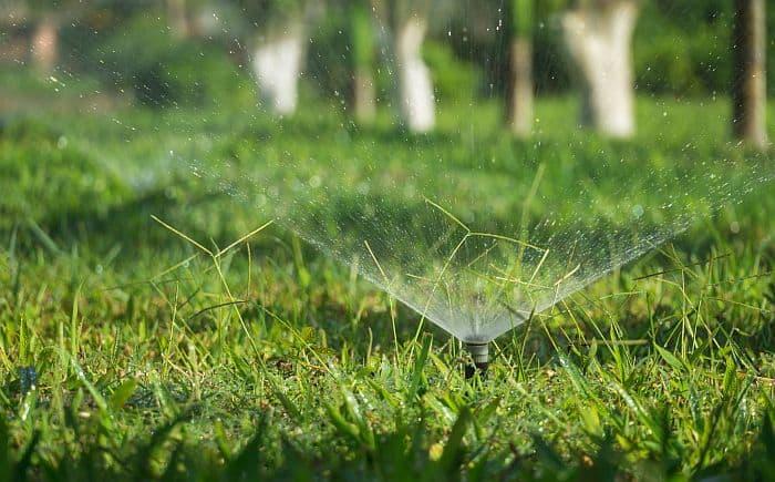 lawn sprinkler sprinkling out water