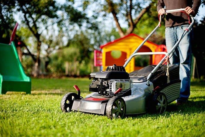 Lawn Mower On A Grass Lawn