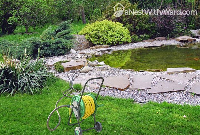Modern garden hose on the spool