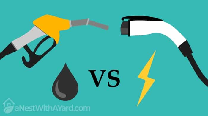 illustration of electric car and fuel fight concept