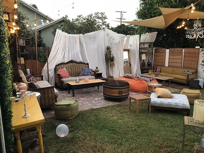 Outdoor Living Space In The Backyard