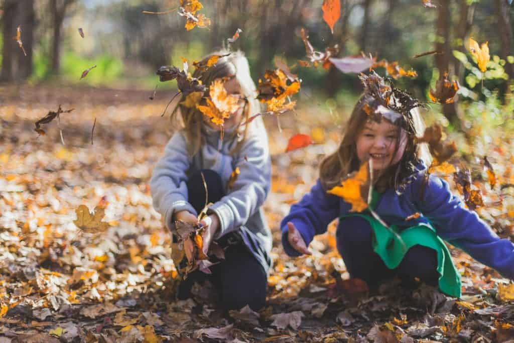 Kids playing with the leaves