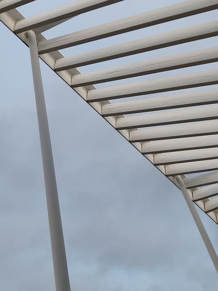 A shot of a portion of a wrought iron pergola