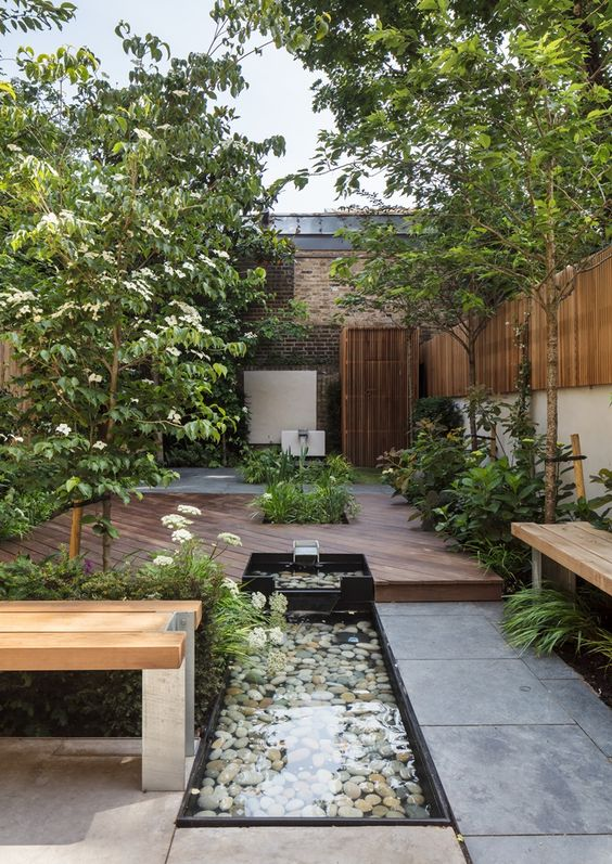 a small patio garden with a pond in landscape #patio #smallGarden #SmallGardenDesign #smallyardlandscaping #gardenIdeas #backyardLandscaping #backyardLandscapingIdeas #landscaping