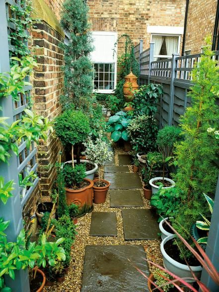 A small garden organized on a patio with stepping stones and containers with plants #patio #smallGarden #SmallGardenDesign #smallyardlandscaping #gardenIdeas #backyardLandscaping #backyardLandscapingIdeas #landscaping