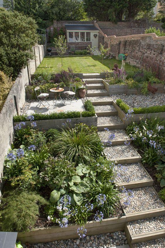 A small backyard garden on a slope  #smallGarden #SmallGardenDesign #smallyardlandscaping #gardenIdeas #backyardLandscaping #backyardLandscapingIdeas #landscaping