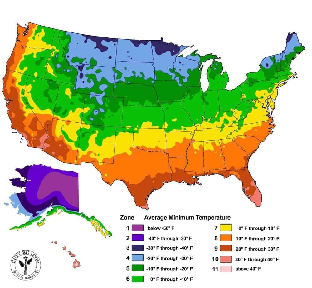 USDA Zone Map with Average Minimum Temperature