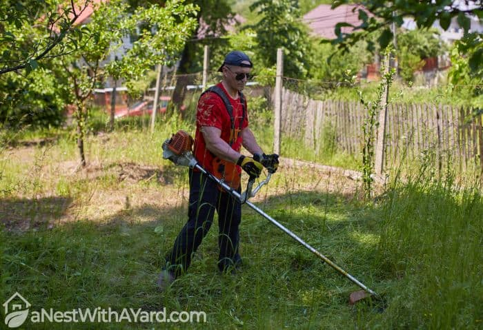 A man in red trimming grasses with a string trimmer