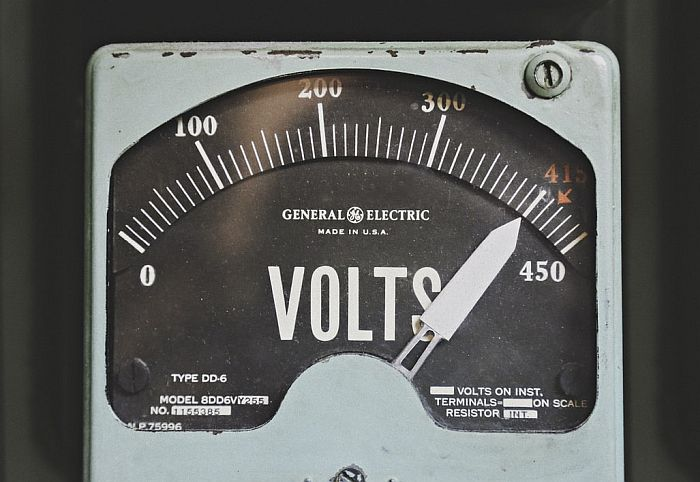 Volt meter with gray cover