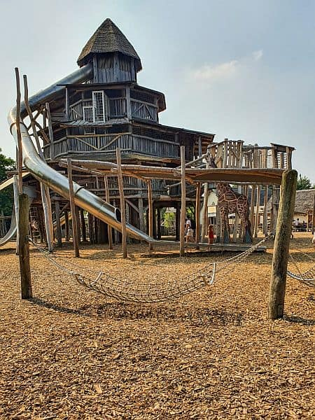 Playground with wood chips for cushioning